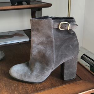 J Crew Suede Gray Heeled Boots